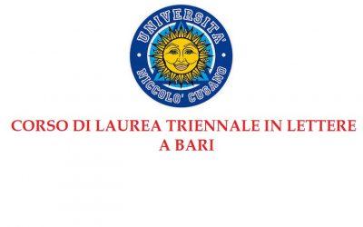 Corso di Laurea Triennale in Lettere a Bari