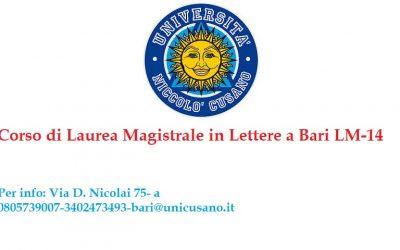Laurea Magistrale in Lettere a Bari